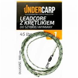 Leadcore z krętlikiem do szybkiej wymiany 45 lbs / 100 cm zielony UNDERCARP